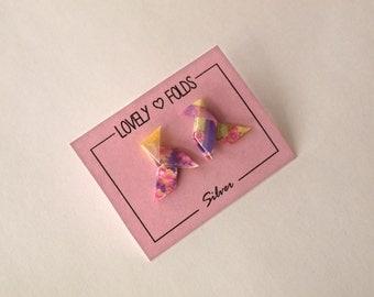 Origami bird earrings silver 925
