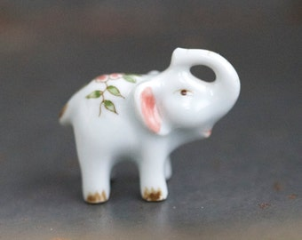 Tiny Happy Elephant - Porcelain Miniature