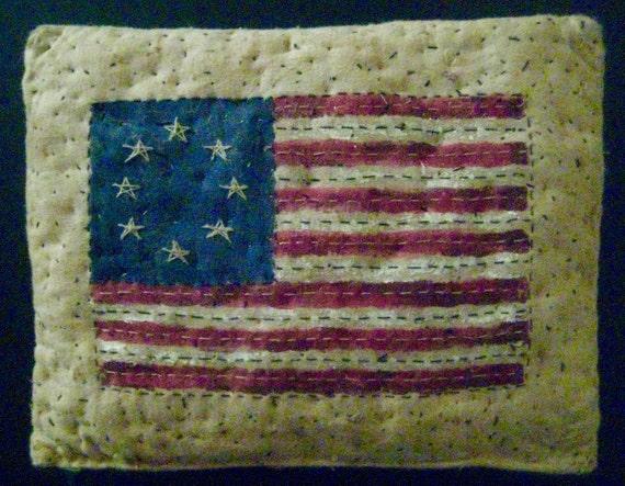 Primitive American Flag Pillow Small Decorative Folk Art