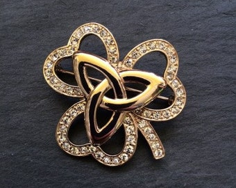 Gold Shamrock Brooch