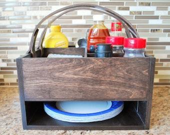 Picnic Basket - Picnic Caddy - Outdoor Entertaining - Patio Entertaining - Outdoor Eating - Condiment Holder - Outdoor Living - Wood Basket