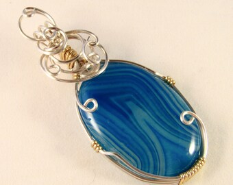 Amanda - Blue Agate Necklace, Wire Wrapped Necklace, Agate Jewelry, Wire Wrapped Jewelry, Gemstone Necklace