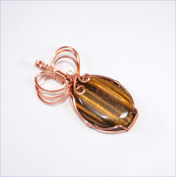 tiger eye pendant tiger eye jewelry tiger by wirewizardz