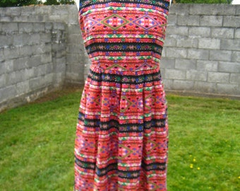 SALE! Vintage Multi Abstract Print Boho Summer Dress M