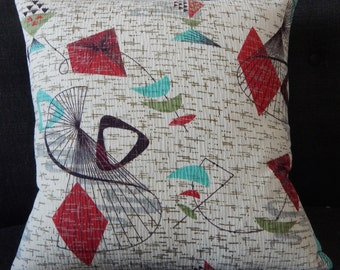 "Atomic Barkcloth Pillow Cover 1950's ""Spin"" Mid Century Modern Mad Men"