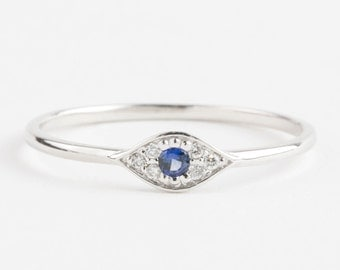 Evil eye ring, 14k white gold with blue sapphire and white diamonds, Evil eye jewelry, gold rose gold option evi-r101