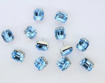 12 Aqua Swarovski Stone Buttons with Metal Shanks (12x10mm)