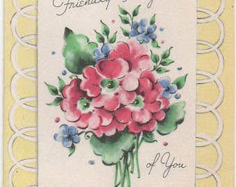 Used 1940s Friendly Thoughts of You card, from a scrapbook, good shape