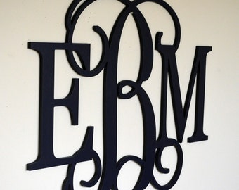 18 x 24 Wooden Monogram Wall Hanging, Nursery Decor, Bedroom Decor Wooden Letters, Painted Wood Monogram Door Hanger, Monogram Door Wreath