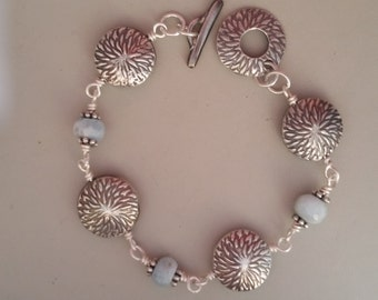 Fine Silver PMC3  Lentil Bracelet