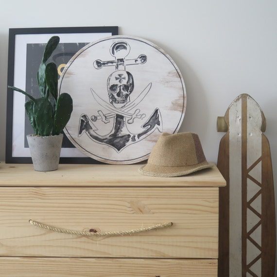 Skull & Anchor Wall Art Round Timber Porthole with Sisal Rope Detail