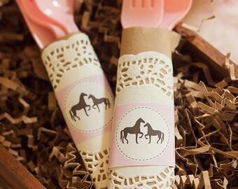 Pink Vintage Pony Horse Birthday Party - Printable Napkin Wraps - Instant Download