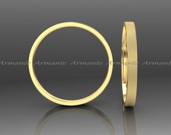 Hand Made 2.00mm Wedding Band, Solid Gold Wedding Band, 14K Yellow Gold Wedding Ring, Stuck Band, 2.00mm Wide