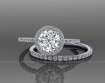 White Sapphire Engagement Set, 14k White Gold White Sapphire Wedding Set, Bridal Set Re00074wws