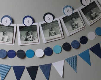 ANY COLOR Baby's First Year 12 Month Photo Banner, Paper Banner Display for 0-12 Month Pictures - blue - navy - nautical - Month by Month