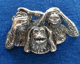 Vintage Sterling Three Wise Monkeys Brooch, Hear No Evil. See No Evil, Speak No Evil