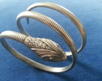 Vintage Sterling Snake Bracelet, Art Deco Forstner Sterling Double Coil Snake Bracelet