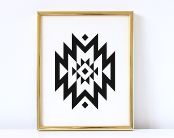 Aztec Tribal Geometric Print | Geometric Wall Art | Tribal Printable | Modern Art | Minimalistic Print | Geometric Printable | Home Decor