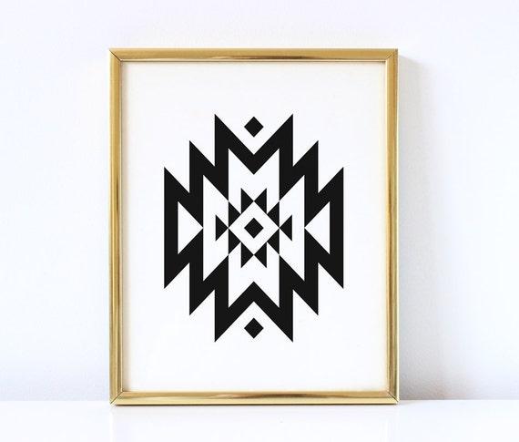 Aztec Tribal Geometric Print Geometric Wall Art Tribal