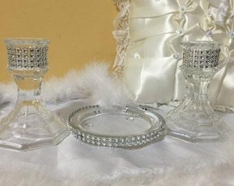 unity candle holder -  unity candle -  wedding centerpiece -  candle holder - ceremony candle -  glass candle holder - wedding candle