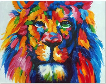 Signed Hand Painted Impressionist Lion Oil Painting On Canvas - Multi-colored Wildlife Animal Art