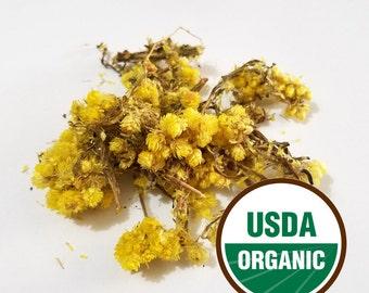 Helichrysum flowers 1 oz. Organic, dried (Helichrysum stoechas)