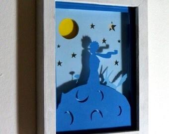 Little Prince framed hand paper cut, wall decor, wall art, special wall decor, nursery decor, little prince home decor, kids room wall art