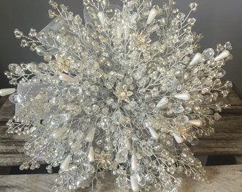 Wedding bouqet with crystal flowers white pearls, crystal beads and silver beads with silver ribbon great bouquet alternative.
