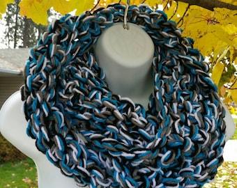 Carolina Panthers, Chunky Scarves, Panthers Scarf scarves, Carolina Panthers, Panthers Infinity, Panthers Scarf Cowl, Panthers Infinity cowl