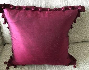 Burgundy Silk Pillow
