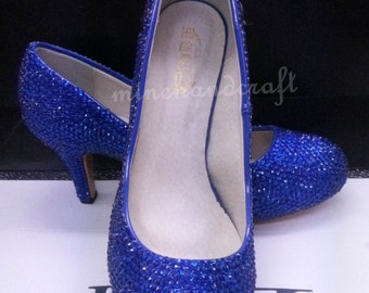 Blue Shoes Women Pumps Heels Blue Crystal Rhinestone Prom
