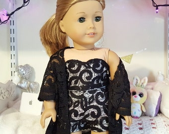18 inch doll black lace bustier, shorts, and kimono