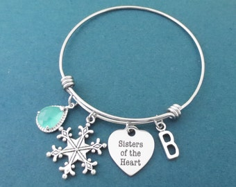 Personalized, Stone, Color, Letter, Initial, Sisters of the Heart, Snowflake, Heart, Silver, Bangle, Bracelet, Gift, Jewelry
