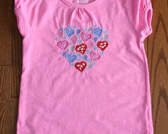 Gently Used Pink with Hearts Girls Valentine's Day T-shirt size 5T