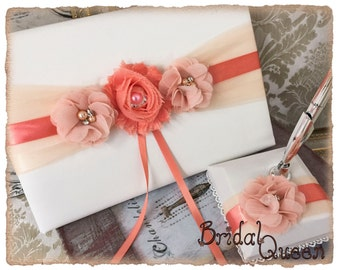 Wedding Guest Book, Pen, Pen Holder, Peach and Coral Wedding Guest Book, Peach Guest Book, Peach Wedding Accessories