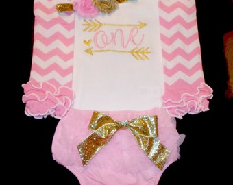Girl First Birthday Outfit, Girl Pink and Gold 1st Birthday Outfits, Girl 1st Birthday Outfit, Girl One Birthday Outfits