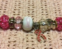 Pink and White Bracelet, Breast Cancer Charm Bracelet, Pandora Compatible Bracelet, Pandora Like Bracelet, Valentine's Day Bracelet