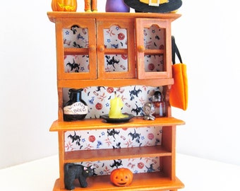 Witch's Cupboard Halloween Dollhouse Cabinet