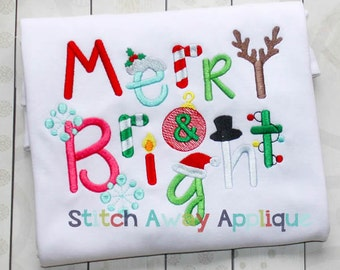 Merry & Bright Christmas Machine Embroidery Design