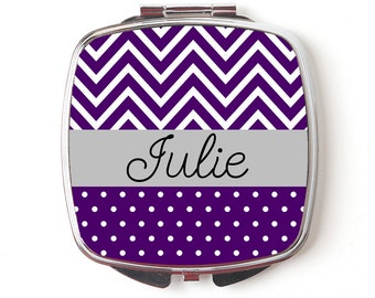 Personalized Compact Mirror - Royal Purple Chevron Personalized Compact Mirror - Personalized Bridesmaid Gift
