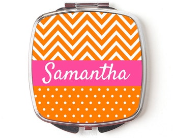 Personalized Compact Mirror - Personalized Bridesmaids Gifts - Orange & Pink Wedding - Chevron Purse Mirrors