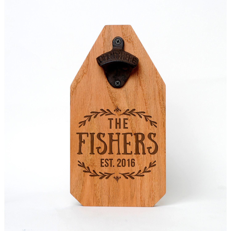 wedding gift personalized beer bottle opener wood sign. Black Bedroom Furniture Sets. Home Design Ideas