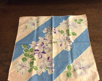 Vintage Handkerchief with flowers blue/ pink/ green/ purple