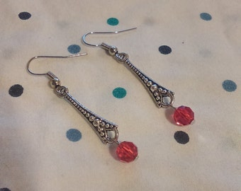 Silver and Red Dangle Earring