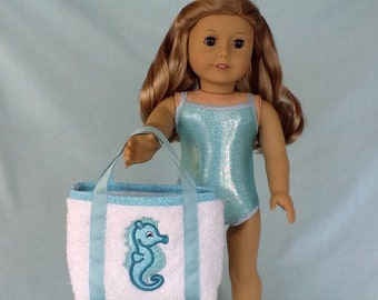 Blue Sparkly Bathing Suit and Seahorse Beach Bag for American Girl/18 Inch Doll
