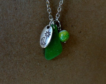 Green Sea Glass Sun and Moon Charm Multi Colored Matching Bead Silver Chain Beach Jewelry Resort Cruise Wear Vacation Keepsake Sun Sea