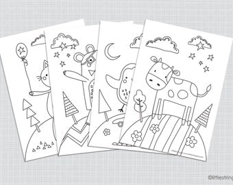 Kids Colouring In Sheets, Kids Activity, Coloring Pages, Kids Wall Art, Kids Room Decor, Fun Animals Printable Instant Download