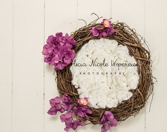Digital Newborn Prop-Wreath with white and fuchsia
