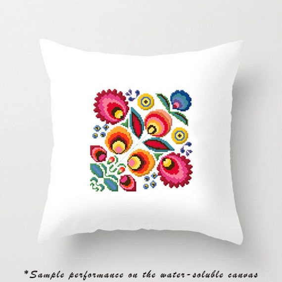 Modern Cross Stitch Pillow Kits : Polish wycinanki flowers - modern cross stitch pattern - pillow flower cross stitch pattern ...