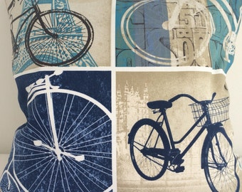 Vintage bike print cushion cover, Bike print pillow case.